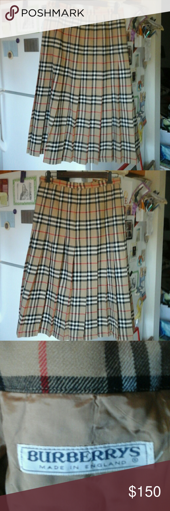 Vintage BURBERRYS  London Nova Check Tartan 100% Wool.  Lining  100% Viscose. In great condition. # E 92424/4. Back zipper Burberry Skirts Midi