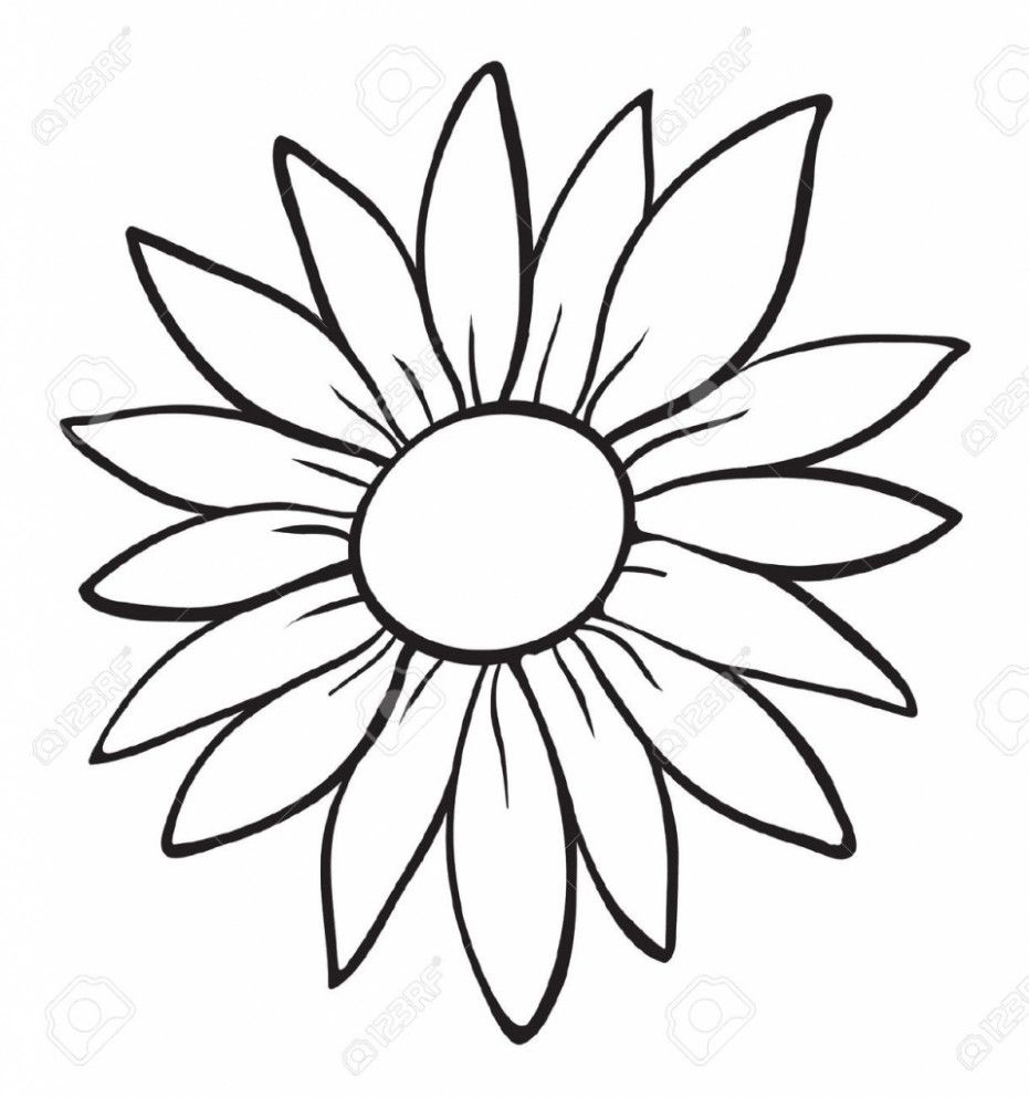 13 Latest Tips You Can Learn When Attending Flower Outline Flower Outline In 2020 Sunflower Drawing Sunflower Stencil Flower Outline