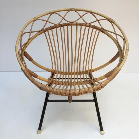 Vintage Rattan Twisted Wicker Chair Metal Feet Fauteuil Rotin - Fauteuil en rotin vintage