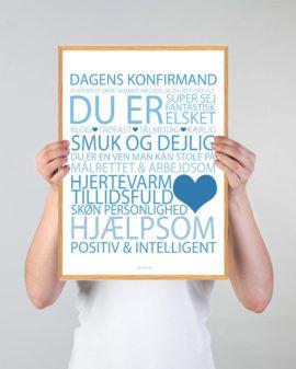 Kob Vores Dagens Konfirmand Plakat Plakat Online I 2020 Med Billeder Plakater Blomsterarrangementer Gaveideer