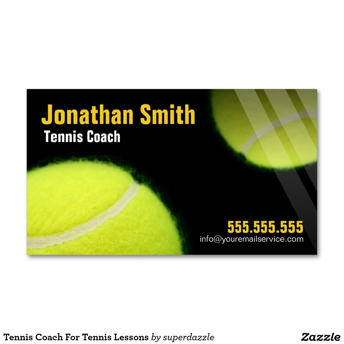 Tennis Coach For Tennis Lessons Business Card | Professional Custom ...