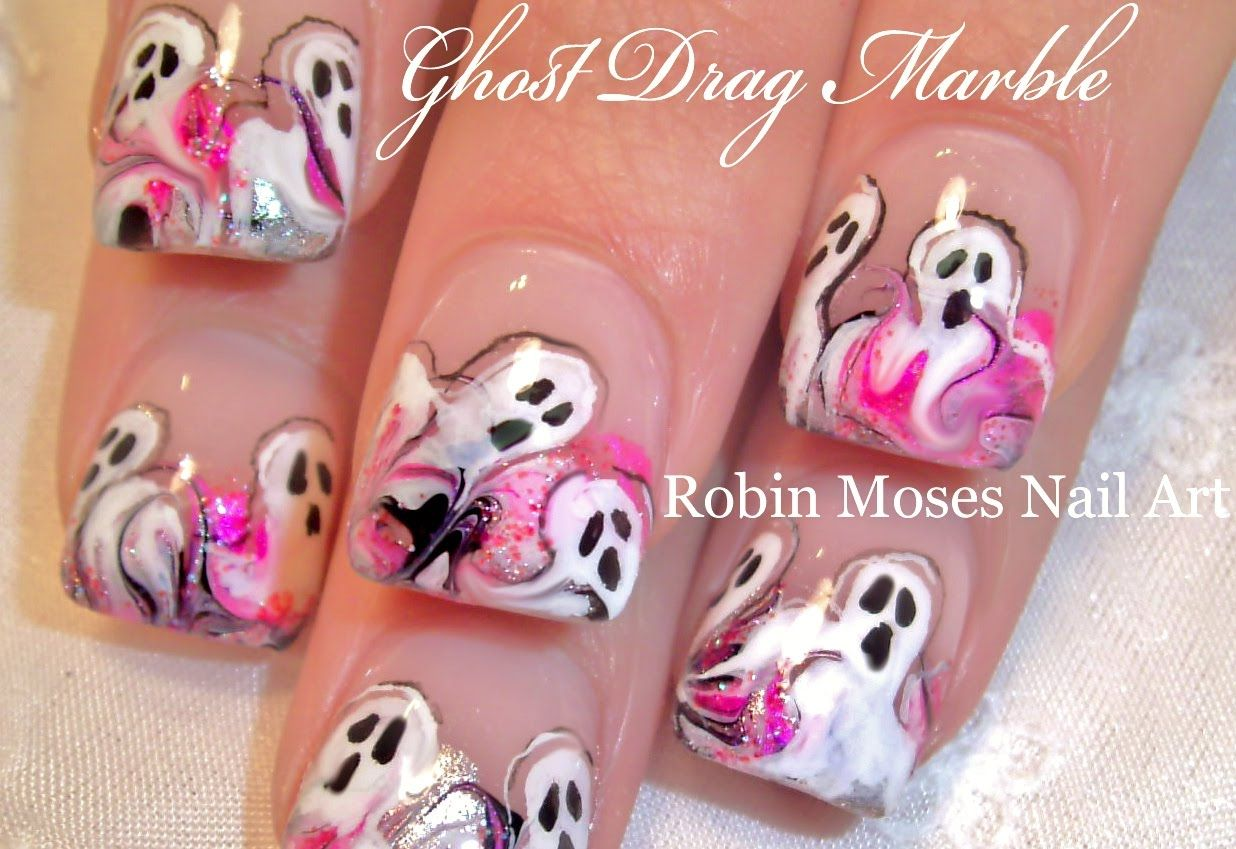 Halloween Drag Dry Marble Nails | Ghost Nail Art Design Tutorial ...