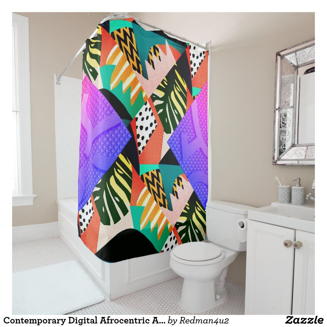 Contemporary Digital Afrocentric Art Deco Shower Curtain Zazzle