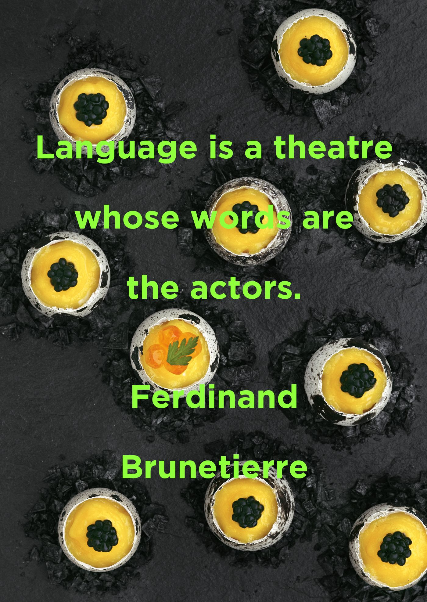 Language is a theatre whose words are the actors. Ferdinand Brunetierre #travel #language #food