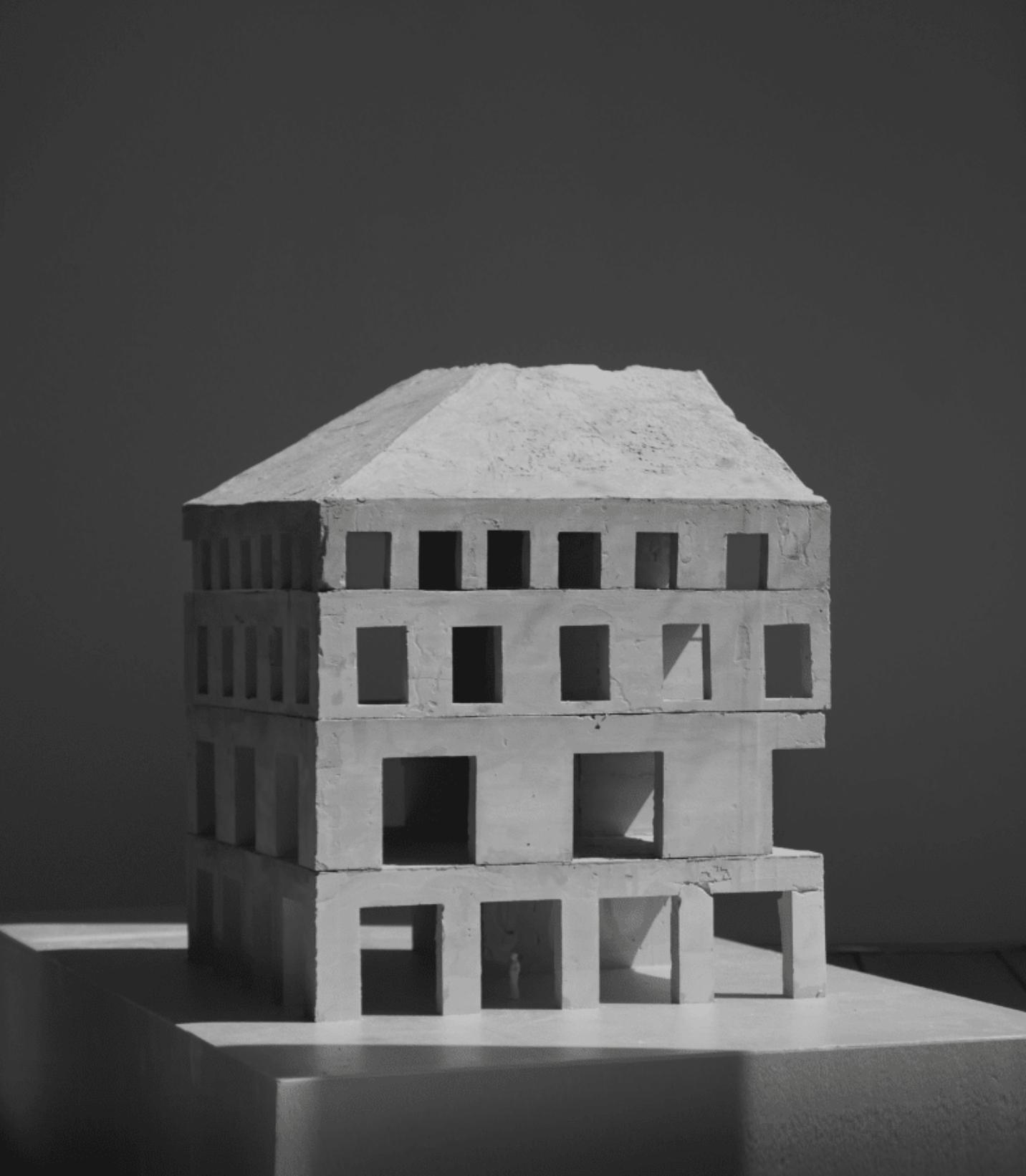 Maquette En Béton Ciment Noir Et Blanc Lumière Open
