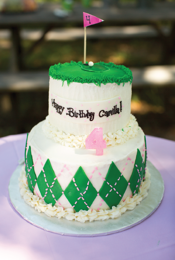 Preppy Pink And Green Birthday Cake For A Golf Party Girl