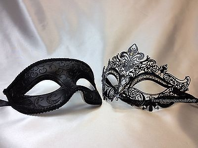 Teal lace mask women mens mask couples mask set couples mask pair his and hers masks for couples mens black phantom mask