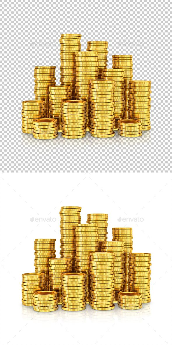 Gold coins isolated on a white background High quality 3d rendered