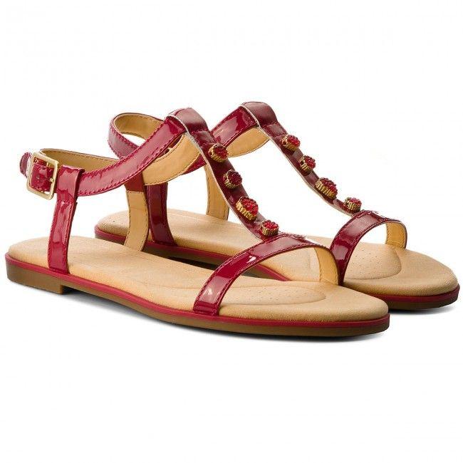 Sandały CLARKS Bay Blossom 261319444 Fuchsia Patent | 2018