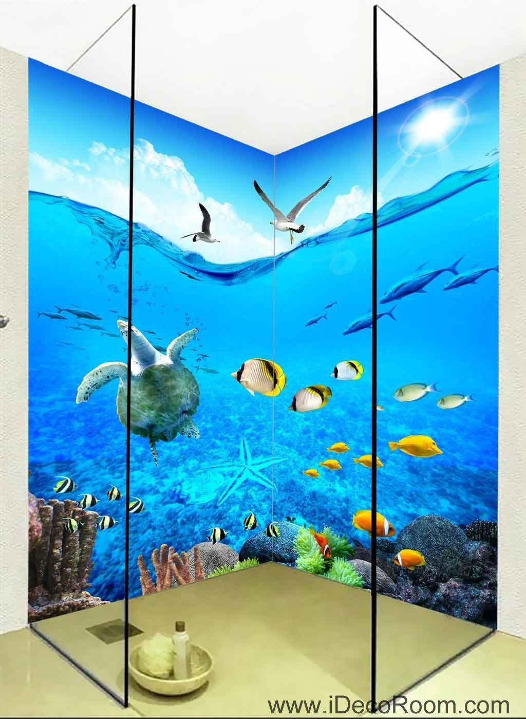 D wallpaper turtle seagull fish wall murals bathroom decals wall