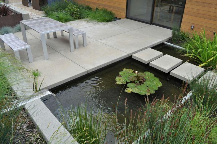 moderne Gartengestaltung Wasserspiel und Teich Landhausstil - moderne gartengestaltung mit pool