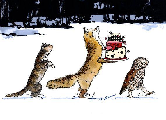 Shirt Fox sewn Winter snow Birthday