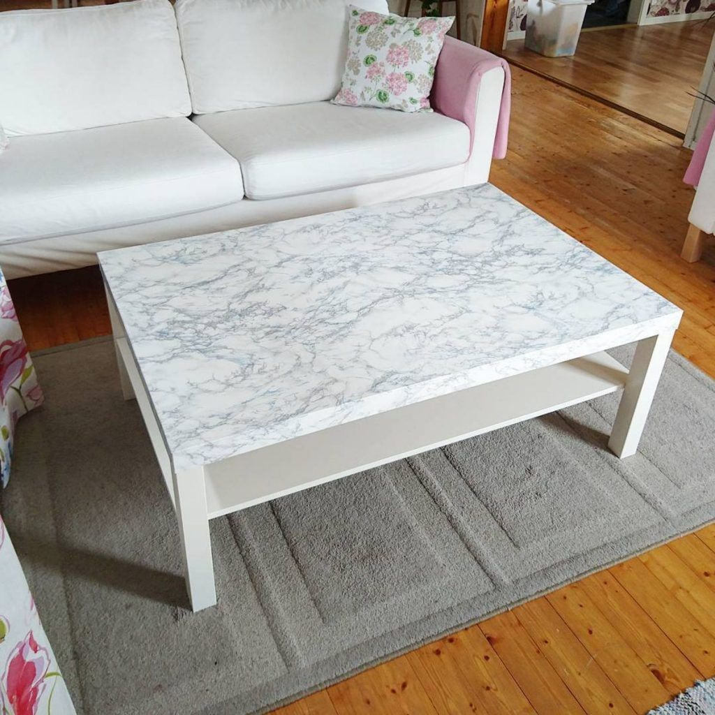 This Lack Coffee Table Was Hacked Using A Roll Of Marble Contact Paper