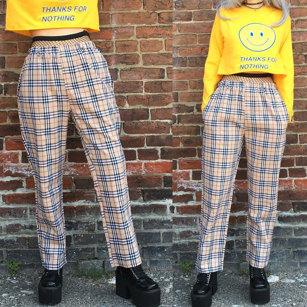 42b81be6ce9 2018- 90s cool kids plaid unisex trousers in 2019