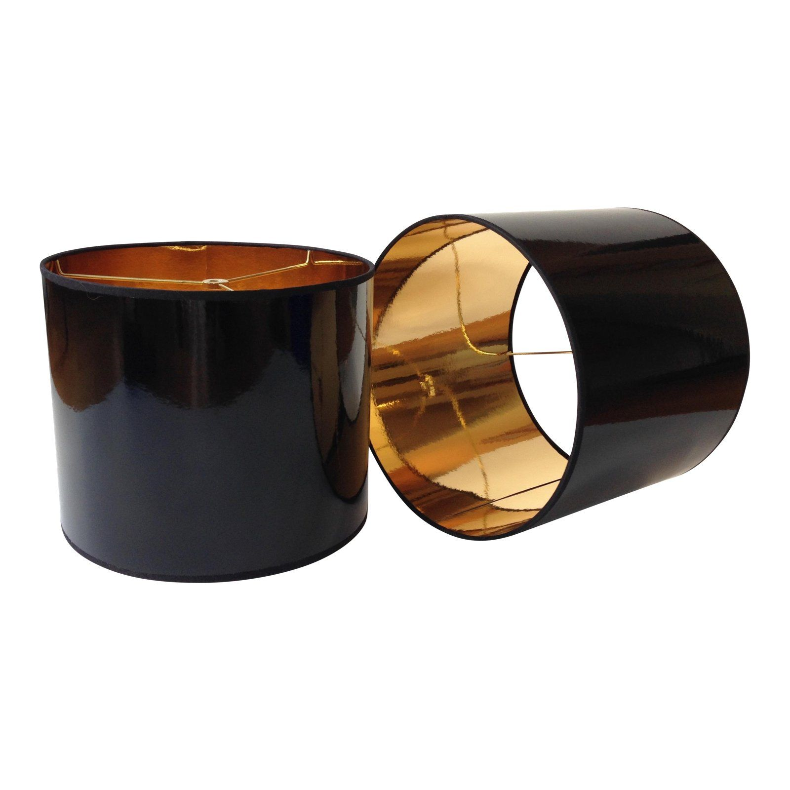 Black High Gloss Drum Lamp Shade With Gold Lining Chairish Drum Lampshade Black Lampshade Lamp Shade