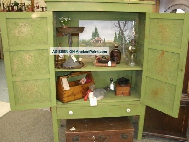 Antique Pie Safe Jelly Cupboard Primitive Cabinet Punched Tin