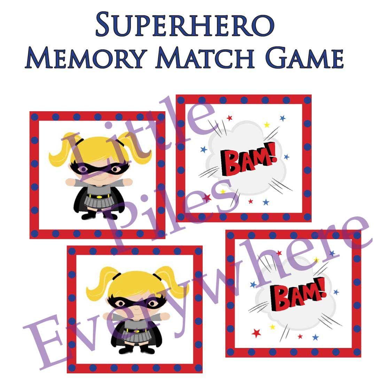 Workbooks superhero worksheets for preschool : Superhero Memory Match Game - many other superhero printables too ...