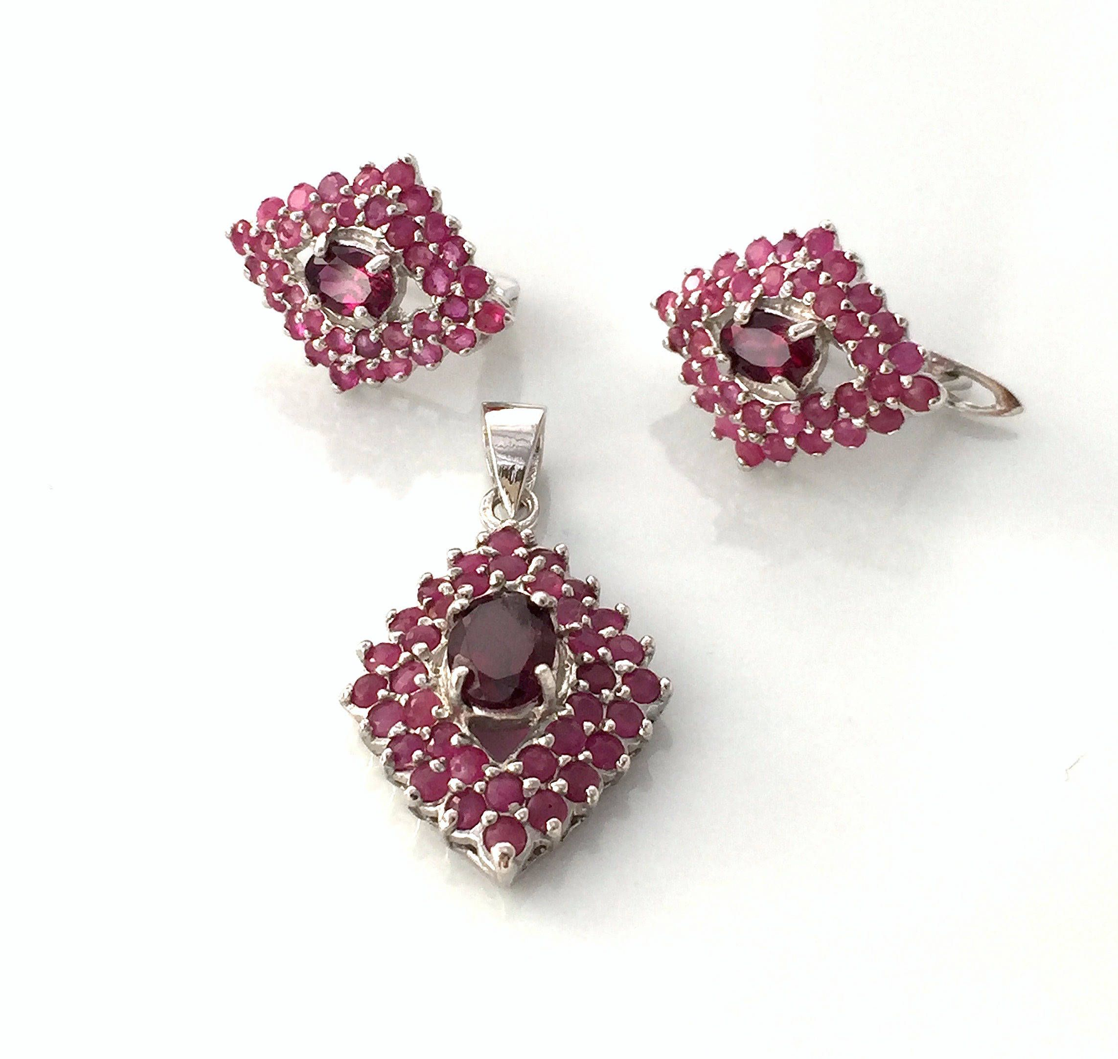 jewelry pav diamond set rhodolite in earrings fine product broome garnet halo