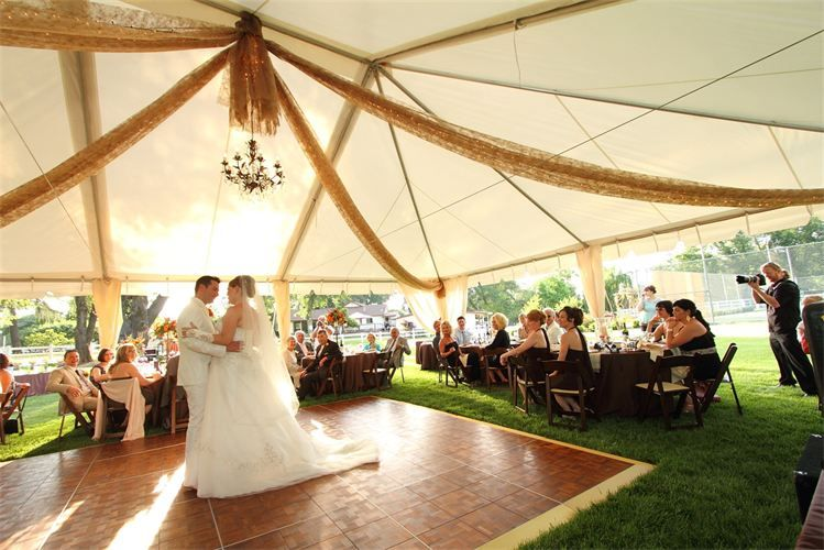 4 way brown gossamer tent drape with hanging chandelier
