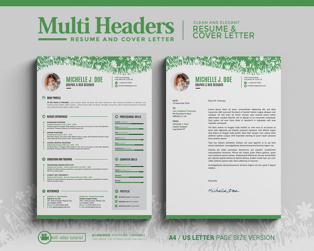 Modern Resume Template / Creative CV Template Mac and PC