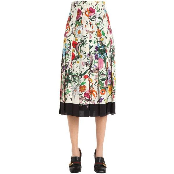 6fafc4b4ac Gucci Women Floral Printed Pleated Silk Crepe Skirt ($1,445) ❤ liked on Polyvore  featuring