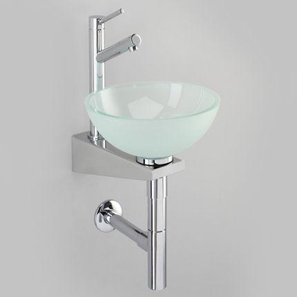 lave mains vasque ronde verre satin et console inox dco pinterest lave main vasque et lave. Black Bedroom Furniture Sets. Home Design Ideas