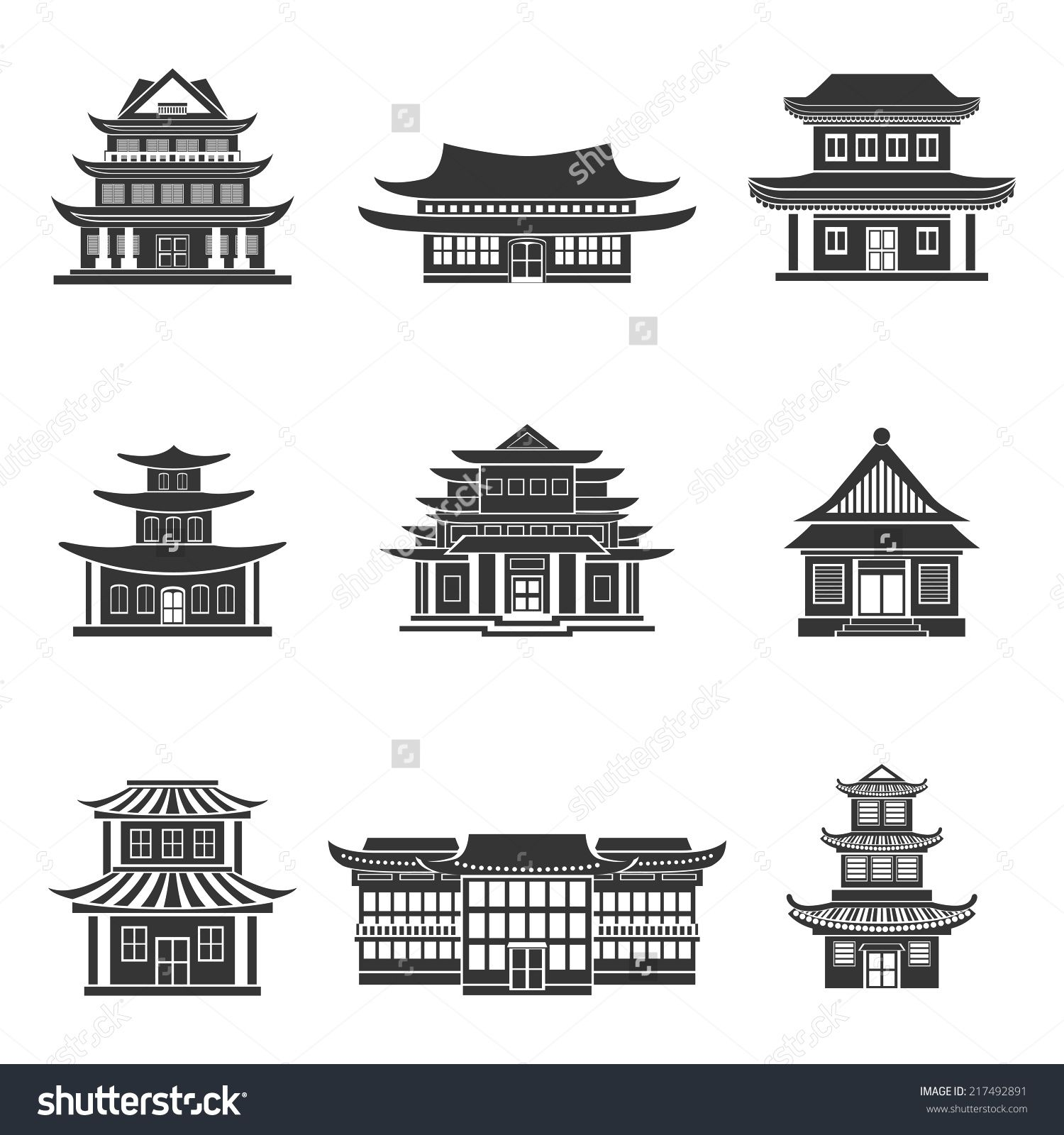 Chinese house ancient temples traditional oriental for Chinese vector