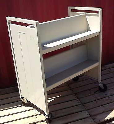 Details about Bretford Book Truck Library Cart, 4 Sloping