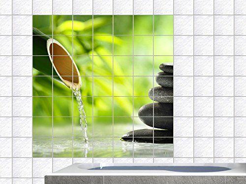 Fliesendekor Badezimmer ~ Fliesenaufkleber fliesenbild wellness spa bambus steine wasser
