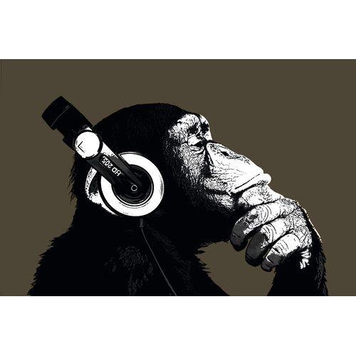 Wandbild Schimpansen Mit Kopfhorern Estampas Engracado