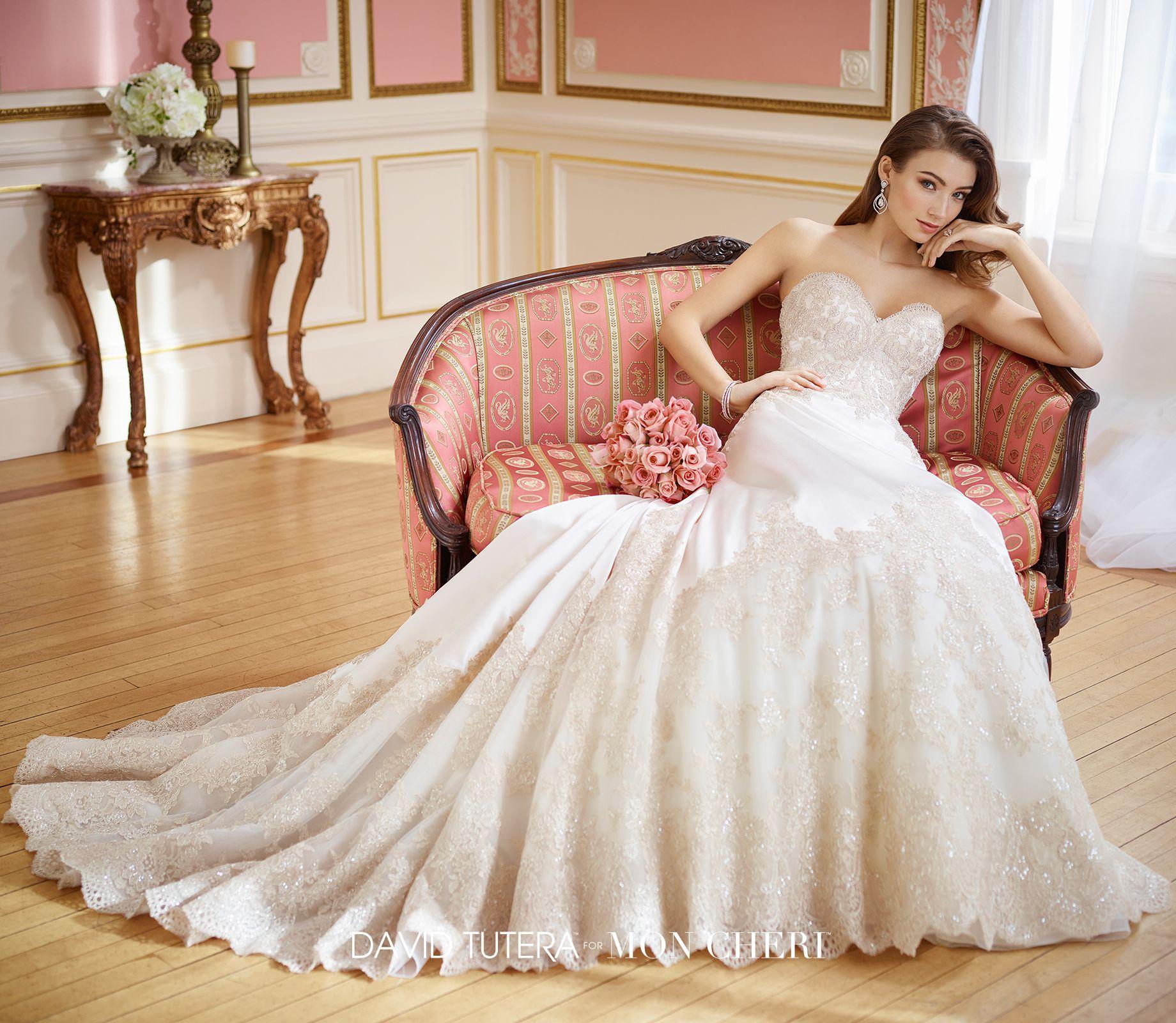 Metallic wedding dress  Strapless satin and metallic lace Aline wedding dress   Emil