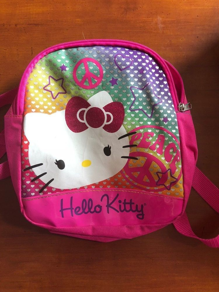 8a08dcac8d Hello Kitty Back Pack Peace Pink 11 x 10  fashion  clothing  shoes   accessories  kidsclothingshoesaccs  girlsaccessories  ad (ebay link)