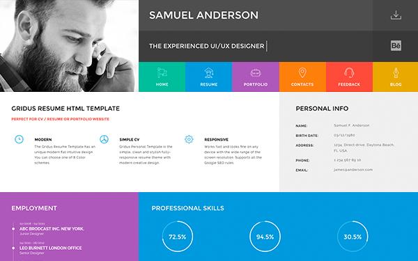 Gridus Vcard Cv Resume Portfolio By Neuethemes Portfolio Resume Resume Portfolio Templates