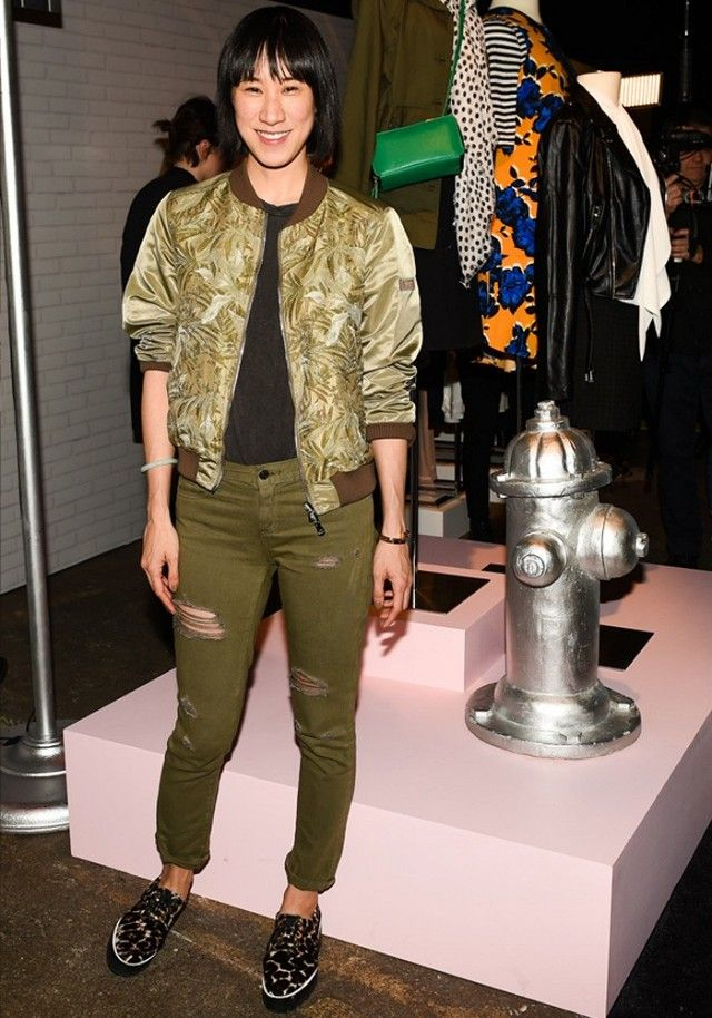 Eva Chen goes army green at the Who What Wear Target collection launch. #MyWhoWhatWear
