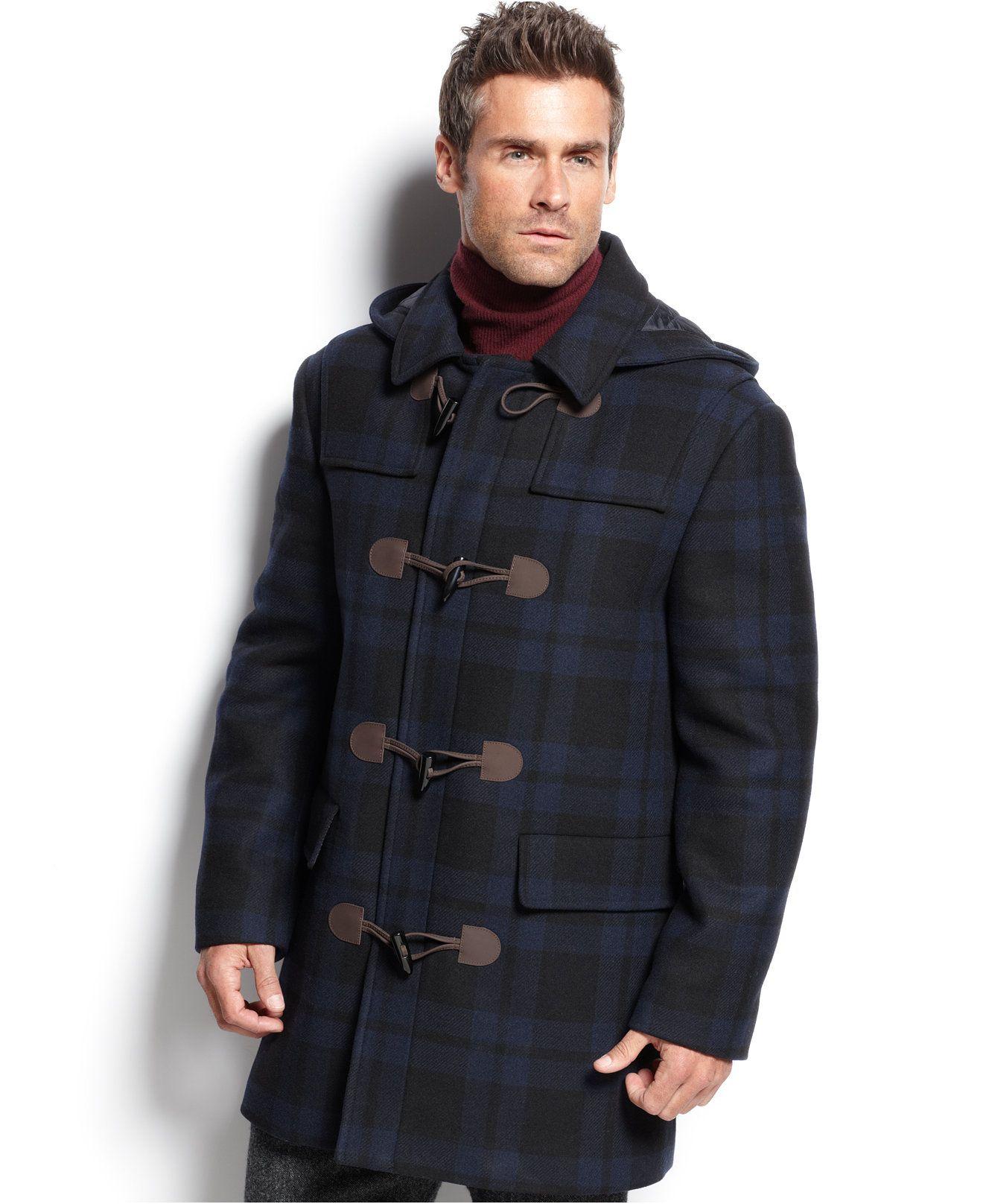 Lauren Ralph Lauren Landau Blue Plaid Toggle Over Coat Coats Jackets Men Macy S Coat Menswear Blue Plaid [ 1616 x 1320 Pixel ]