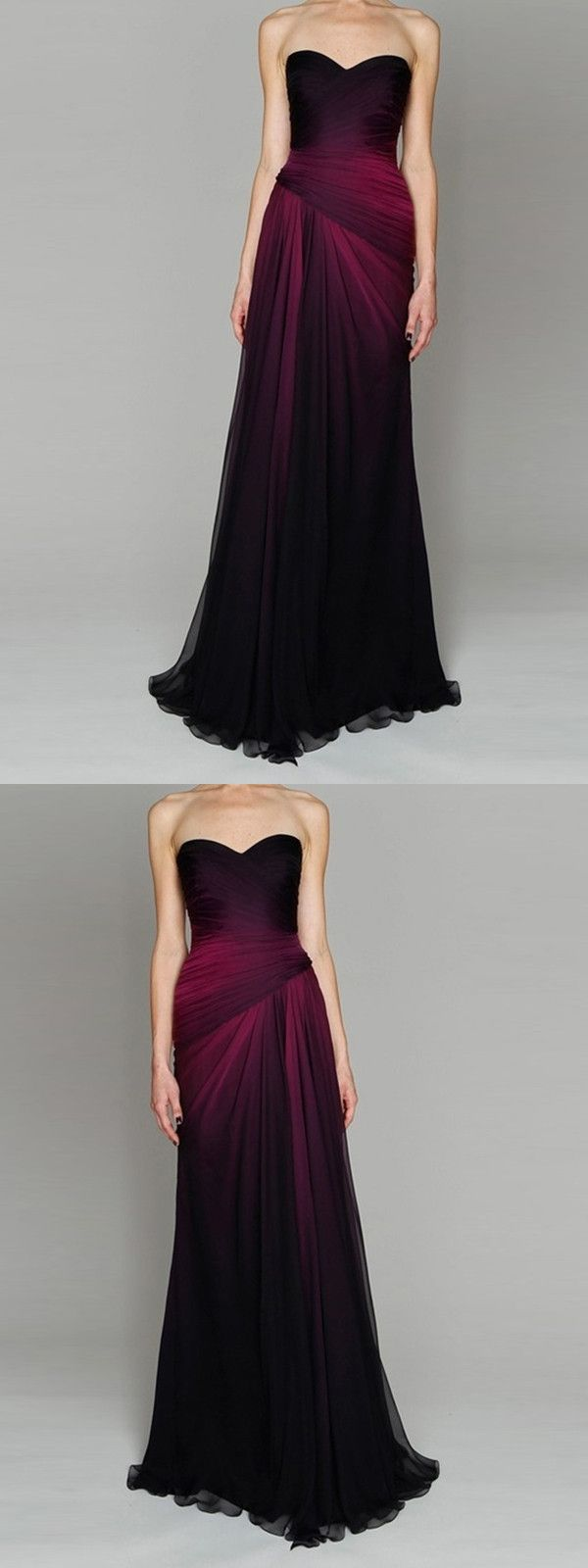 Chic sweetheart ombre prom dress black and fuchsia chiffon prom