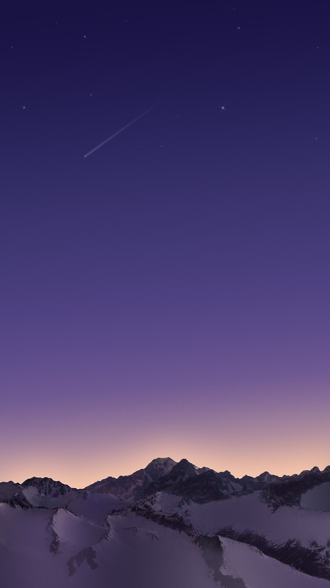 Snow Mountains Night Star Meteors Iphone Wallpaper In 2019