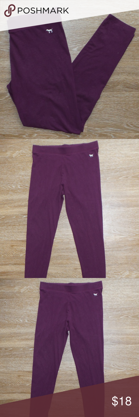 9210d07386f07 PINK Victoria's Secret Maroon Leggings Large Some pilling in crotch ...