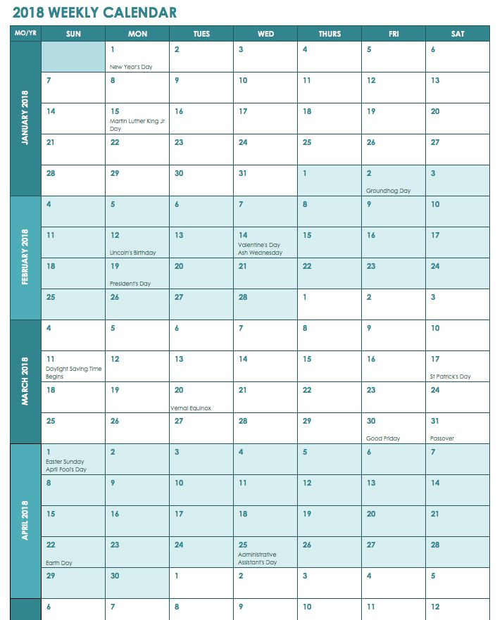 Week Wise 2018 Calendar 2018 Calendars Pinterest Excel