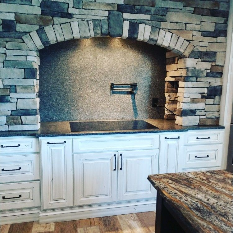Stone Arch over Kitchen Stove Top Stone arch, Rustic