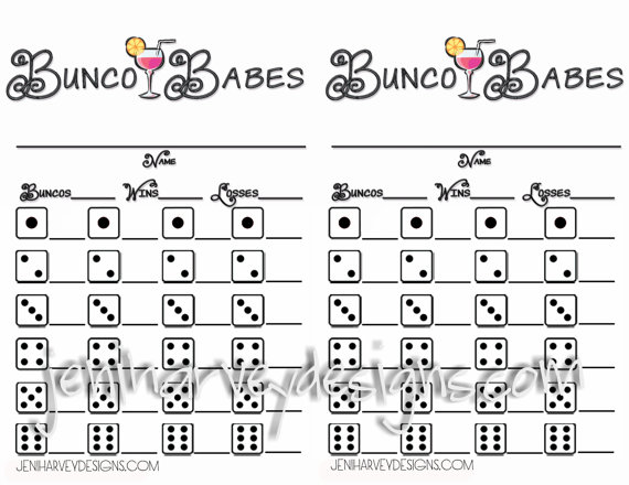 Bunco Babes Bunco Score Sheet by JeniHarveyDesigns on Etsy, $500 - bunco score sheets template