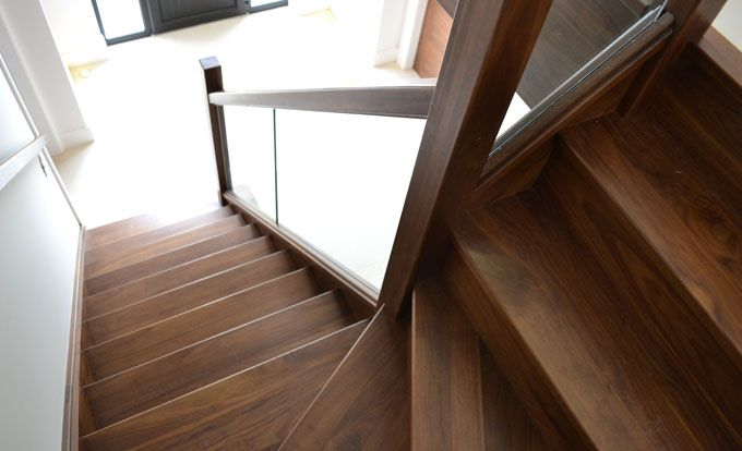 Contemporary Walnut Staircase With Glass Detail (Private Client. Location:  Northern Ireland)