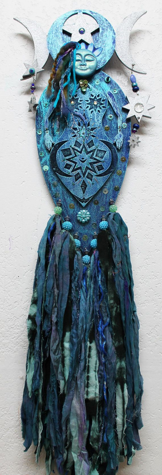 Blue Moon Goddess, Pagan Moon Goddess, Selena, mixed media art doll, wood art doll, Polymer clay goddess