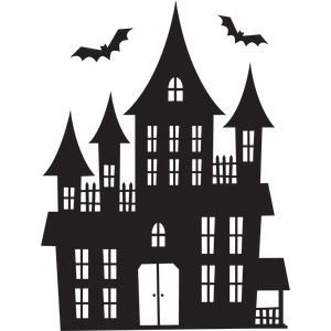 haunted house stencils silhouettes halloween. Black Bedroom Furniture Sets. Home Design Ideas