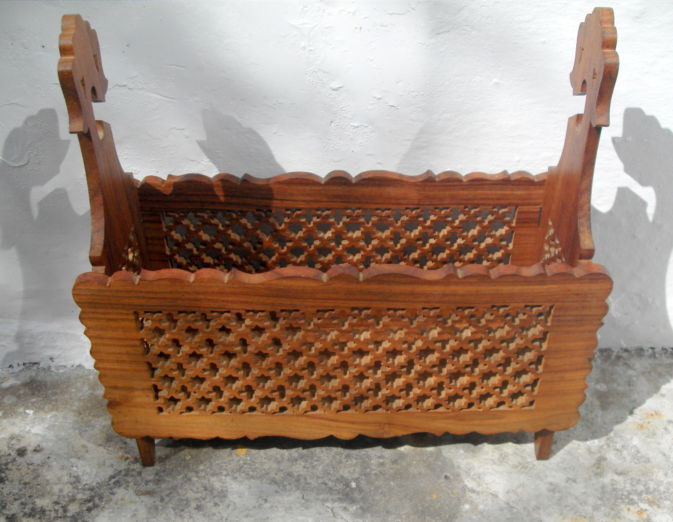 11419 £32 Inc UK Post. Offers Welcome. Large Carved Wood Magazine Rack (