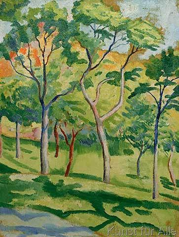 August Macke - Bäume in der Wiese (54,0 x 71,0 cm)