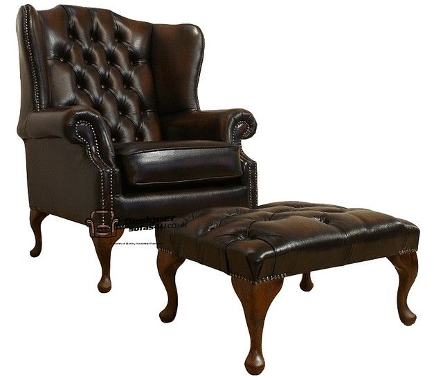 Chesterfield Offer Mallory High Back Wing Chair Footstool | Decoración