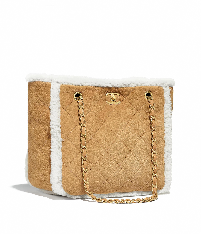 984f123556e0 Shearling Lambskin & Gold-Tone Metal Beige Flap Bag   CHANEL #Chanelhandbags