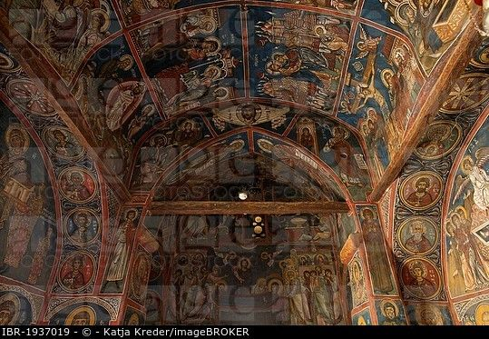 900-year-old wall paintings in the Greek Orthodox church Panagia Phorbiotissa, UNESCO World Heritage Church, Asinou, Troodos Mountains, Southern Cypru...