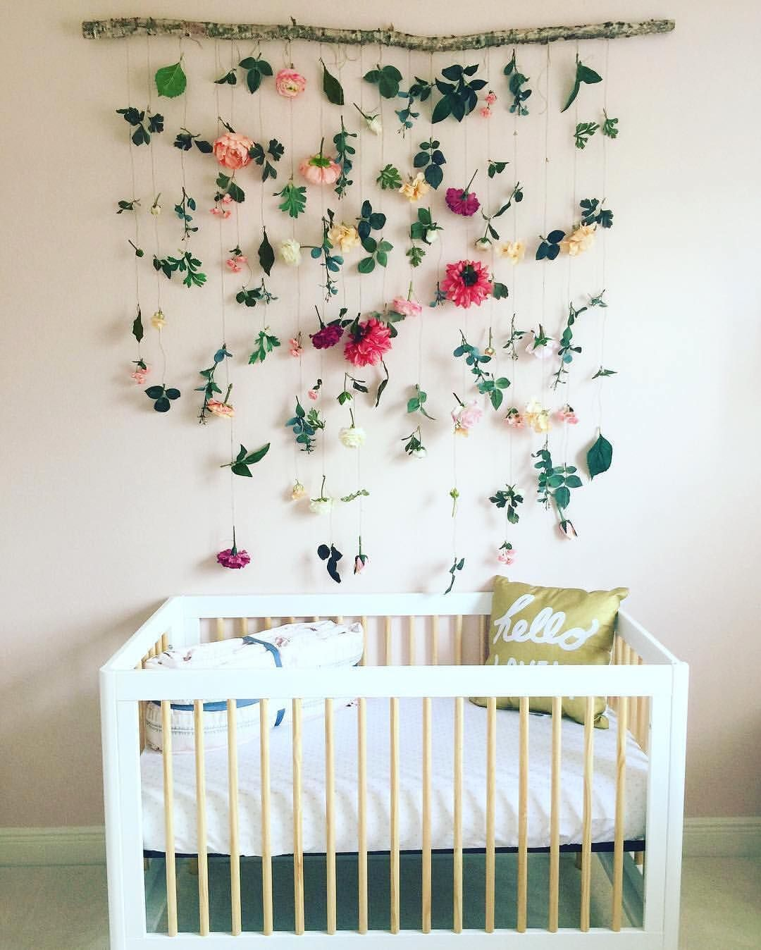 Simple Decorating Girl Nursery Design: Modern Nursery. Floral Nursery. DIY. Handmade. Colorful